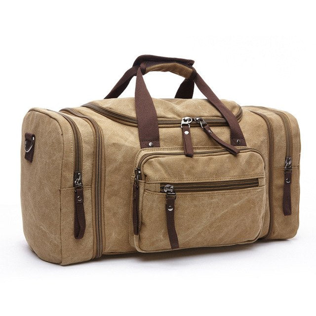 Vintage Canvas Travel Bag With Strips Soft Solid GYM Bag Outdoor Sport Bags Men Bags For Trip Camping 6 Colors  WX131 - unitedstatesgoods