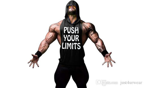 PUSH YOUR LIMITS Men Vests Summer GYM Tank Tops Hooded Tanks Athletic Top - unitedstatesgoods