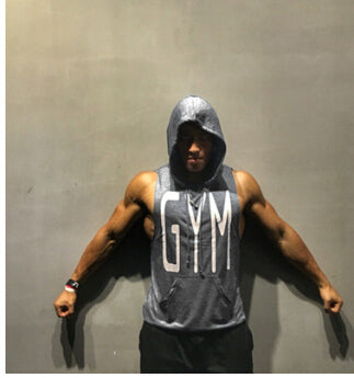 GYM Letters Print Tank Tops Men Athletic Fitness Casual Vest Sleeveless Hooded Loose tEE Summer Clothing Tops - unitedstatesgoods