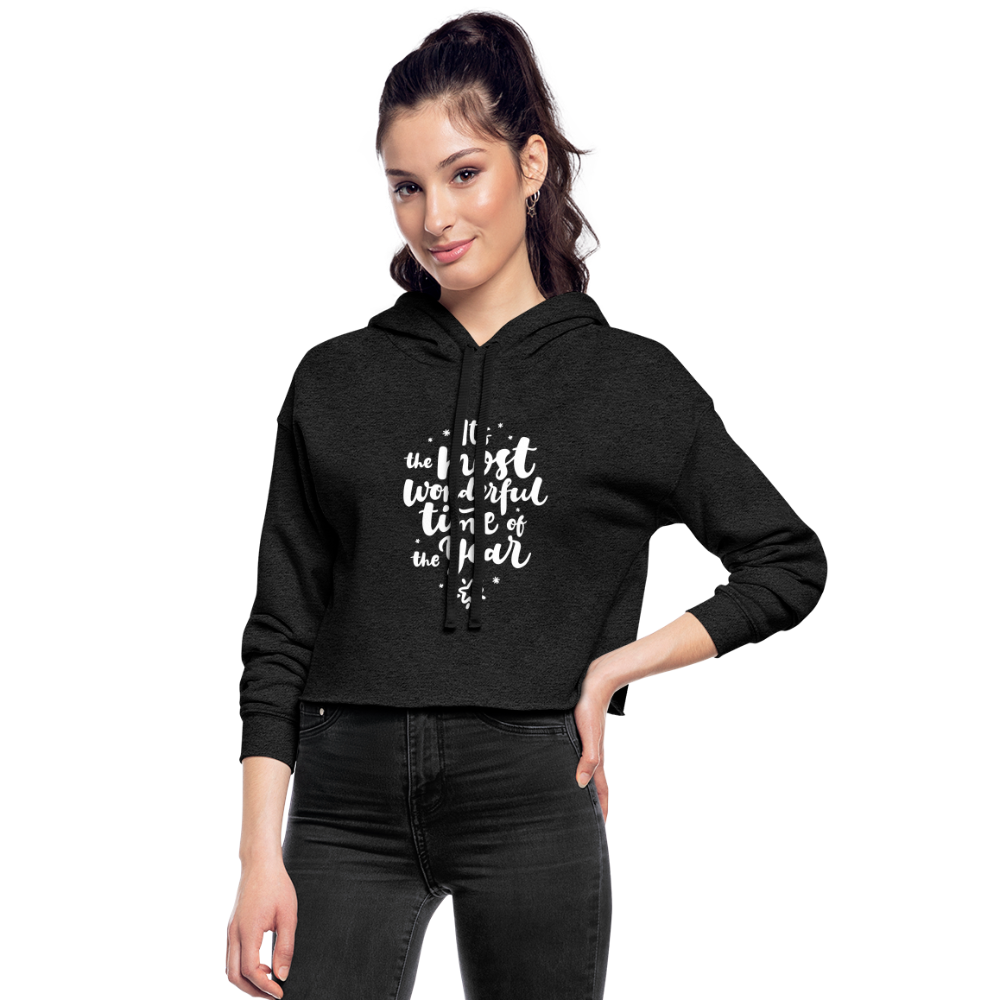 Women's Christmas Cropped Hoodie - deep heather