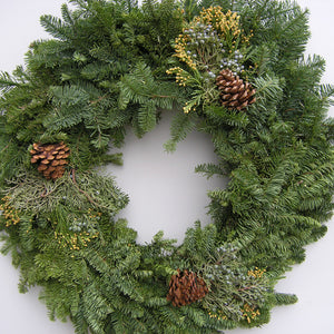 Mixed Noble Fir Wreath With Cones