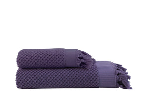 Pebble Bath Towel  Set - Plum