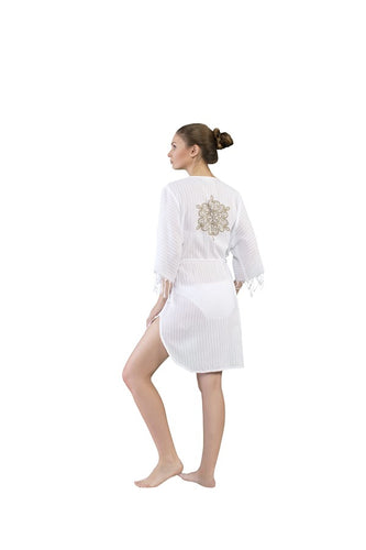 Karma Dress - Off White - with Brown