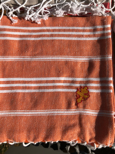 Sky Orange Kitchen Towel- Leaf