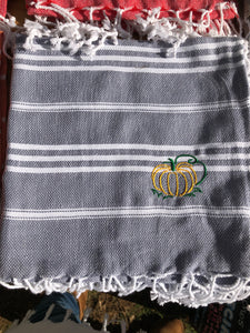 Sky Grey Kitchen Towel- Pumpkin