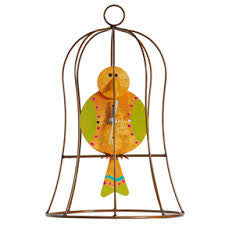 Recycled Metal Bird in Cage Pendulum Clock