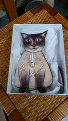 Siamese Cat Pendulum Clock - Handmade in USA