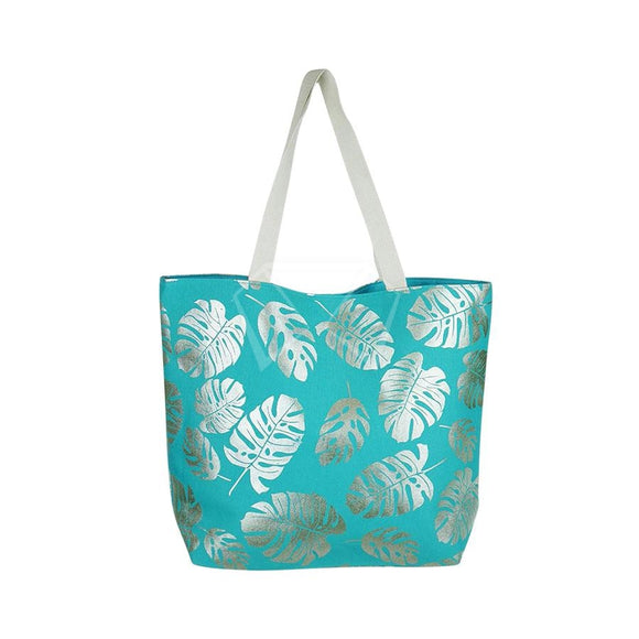 Silver Tropical Leaves Swim Bag