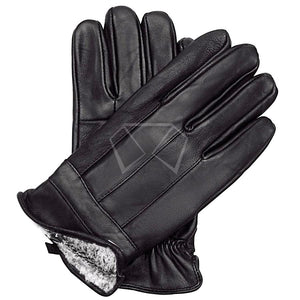 Mens Valentini Leather Fur Lined Gloves