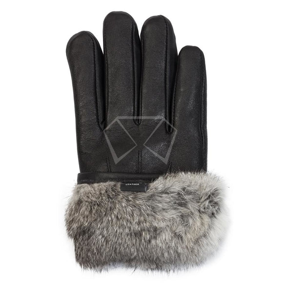 Mens Leather & Rabbit Fur Gloves Winter Items