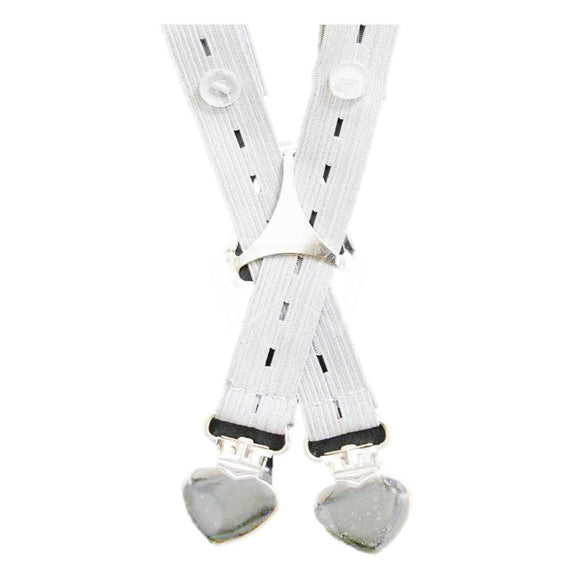 Kids Adjust It Suspenders (With Adjustable Buttons) Heart Buttons / White