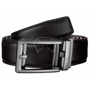 Mens Black Leather Track Belt 48 / #6 Belts