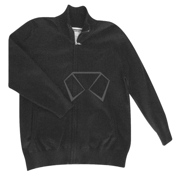 Boys Black Cotton Zip-Up Sweater Sweaters