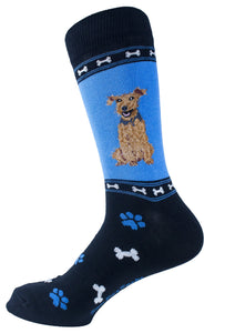 Airedale Terrier Dog Socks Mens Signature