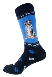 "Australian Shepherd ""Blue Merle"" Dog Socks Mens Signature"