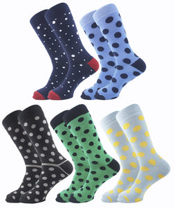 Polka Dots Men Socks - Assorted - 5 Pack