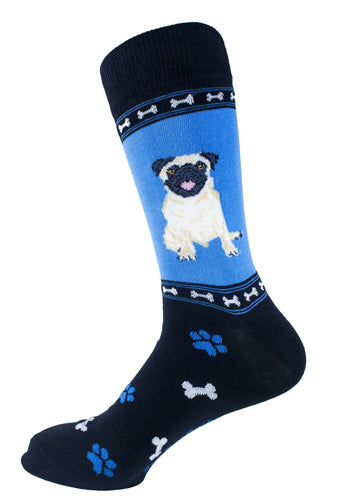 Pug Fawn Dog Socks Mens Signature