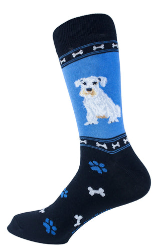 Schnauzer White Dog Socks Mens Signature