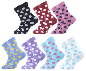 Polka Dots Women Socks - Assorted - 7 Pack