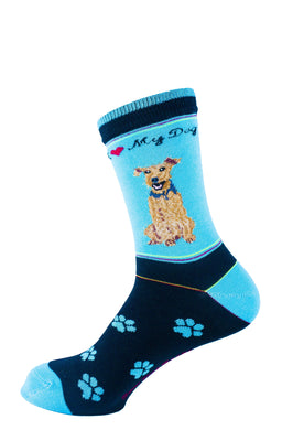 Airedale Dog Socks Signature - samnoveltysocks.com