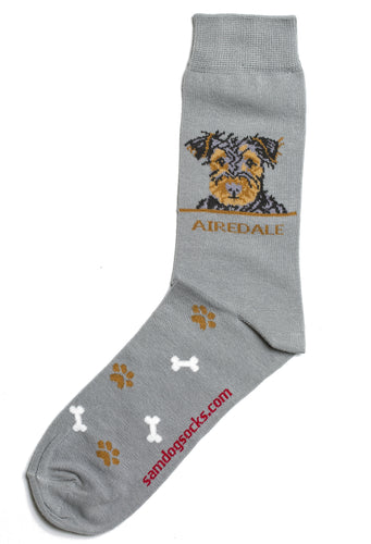 Airedale Terrier Dog Socks Mens - samnoveltysocks.com
