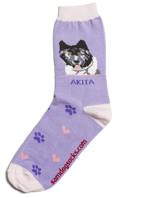 Akita Black Dog Socks - samnoveltysocks.com