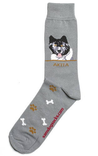 Akita Black Dog Socks Mens - samnoveltysocks.com