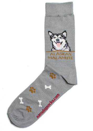 Alaskan Malamute Dog Socks Mens - samnoveltysocks.com