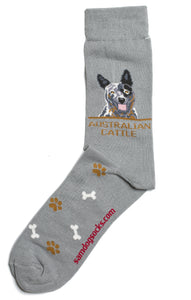 Australian Cattle Dog Socks Mens AKA Blue Heeler - samnoveltysocks.com