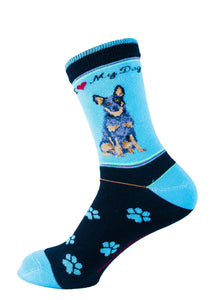 "Australian Cattle Dog Socks Signature ""Blue Heeler"" - samnoveltysocks.com"