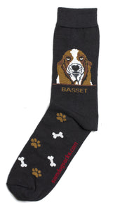 Basset Hound Dog Socks Mens - samnoveltysocks.com
