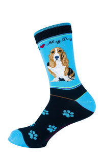 Basset Hound Dog Socks Signature - samnoveltysocks.com