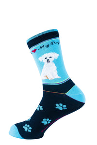 Bichon Frise Dog Socks Signature - samnoveltysocks.com