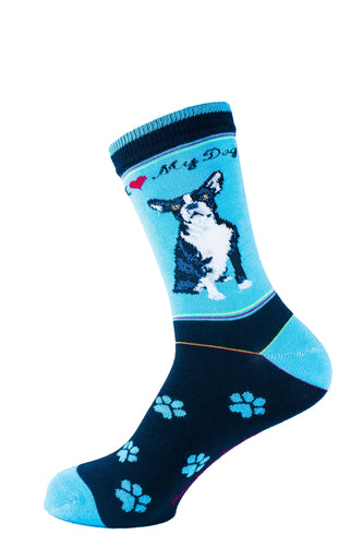 Boston Terrier Dog Socks Signature - samnoveltysocks.com