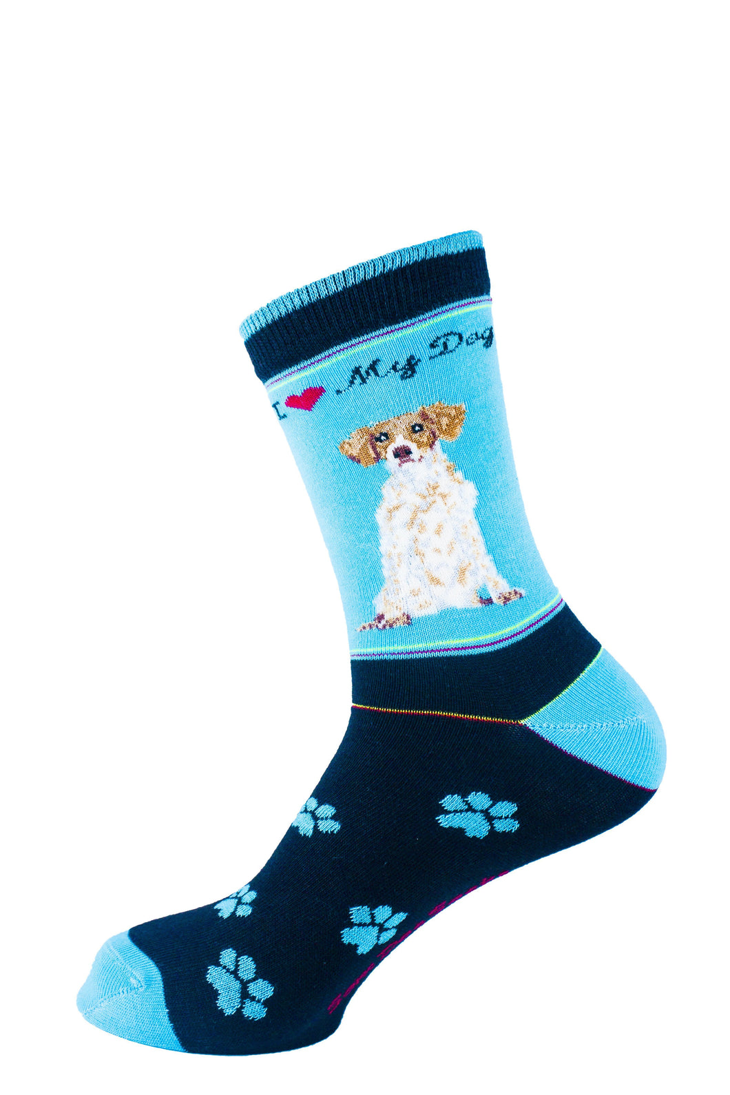 Brittany Spaniel Dog Socks Signature - samnoveltysocks.com