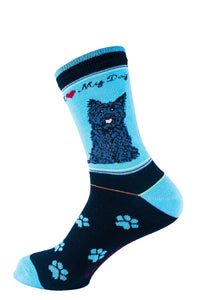 Cairn Terrier Black Dog Socks Signature - samnoveltysocks.com