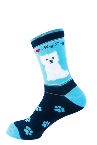 Cairn Terrier White Dog Socks Signature - samnoveltysocks.com