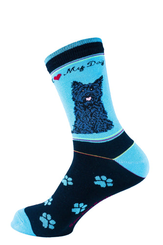 Carin Terrier Black Dog Socks Signature - samnoveltysocks.com