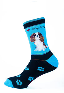 Cavalier King Charles Brown Dog Socks Signature - samnoveltysocks.com