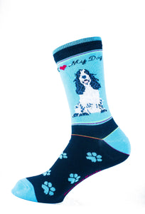 Cocker Spaniel Black n White Dog Socks Signature - samnoveltysocks.com