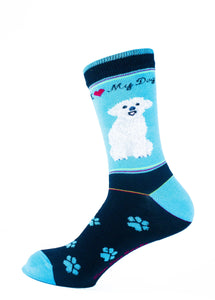 Havanese White Dog Socks Signature - samnoveltysocks.com