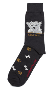 Maltese Dog Socks Mens - samnoveltysocks.com