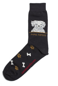 Maltipoo Dog Socks Mens - samnoveltysocks.com
