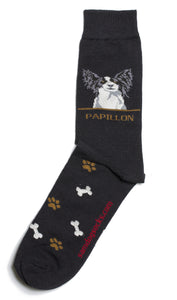 Papillon Black Dog Socks Mens - samnoveltysocks.com