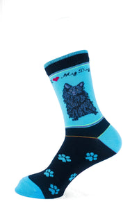 Pomeranian Black Dog Socks Signature - samnoveltysocks.com