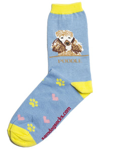 Poodle Brown Dog Socks - samnoveltysocks.com
