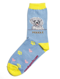 Poodle White Dog Socks - samnoveltysocks.com
