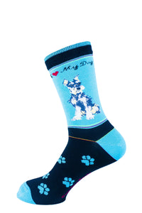 Schnauzer Grey Dog Socks Signature - samnoveltysocks.com