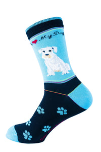 Schnauzer White Dog Socks Signature - samnoveltysocks.com