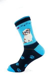 Shih Tzu Brown Dog Socks Signature - samnoveltysocks.com